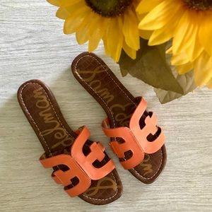 SAM EDELMAN Tangelo Orange Leather Bay Sandals